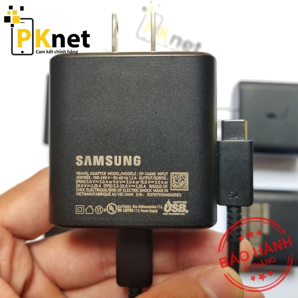 Bộ sạc siêu nhanh 45W chính hãng Samsung cho Note10 plus/S20/Note20 CHÂN DẸT + Cáp Type C to Type C 5A chính hãng.