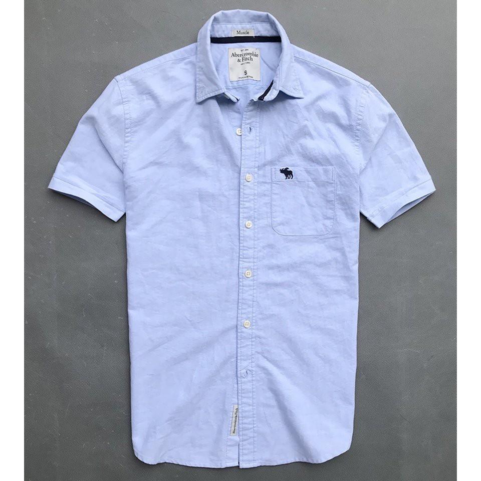 Áo sơ mi nam tay ngắn màu xanh da trời nhạt form suông - thời trang công sở