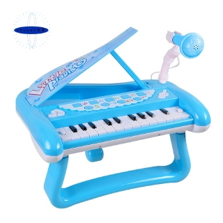 QIAOWA Q Kids Electronic Keyboard Toy with Microphone and Light,Blue