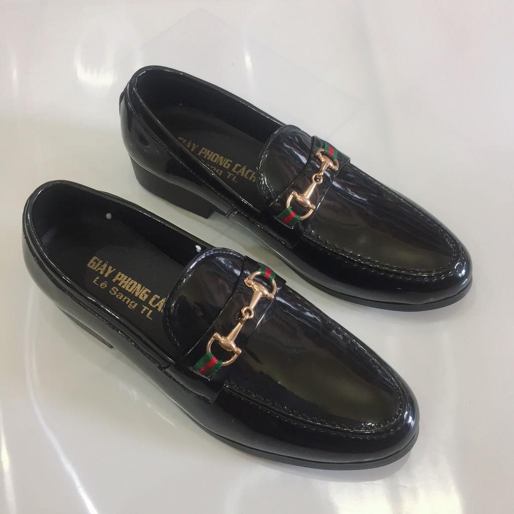 Giày tây nam da bóng đai kim loại vàng lịch lãm đế 3 cm hàng cao cấp giá rẻ( Vina Store )