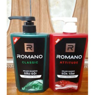 Combo dầu gội Romano 650g, sữa tắm Romano 650g