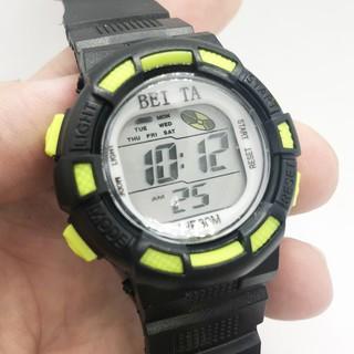 Đồng hồ điện tử thể thao trẻ em Beita dây vỏ cao su mặt tròn size 36mm đa chức năng, đèn led nhiều màu chống nước BT02