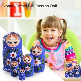 SU 5pcs Russian Matryoshka Nesting Doll Basswood Blonde Girls Paint Decor Gift