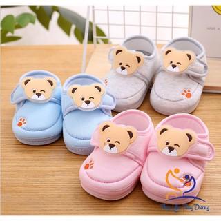 [Đế kép]Giày tập đi cho bé trai và bé gái đế kép cao su mềm hình gấu DK0200G thumbnail