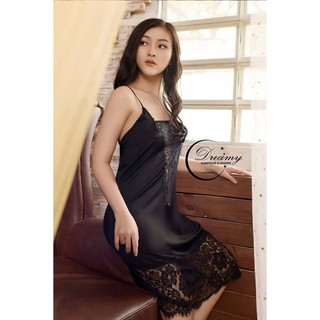 Dreamy VS08 Váy ngủ lụa cao cấp hai dây phối ren dáng suông gợi cảm màu đen trắng đỏ thumbnail