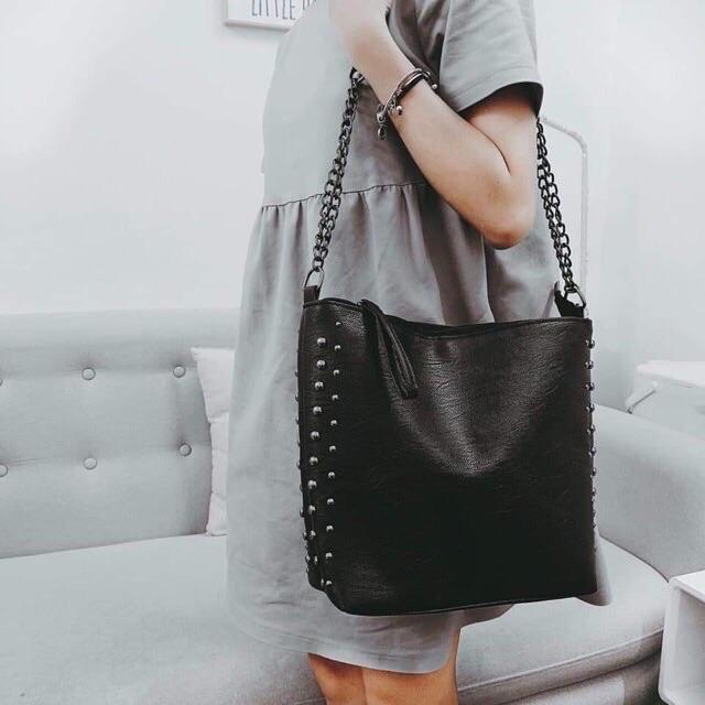 Túi to, Túi tote da viền đinh vừa sách vở đeo chéo đi học, đi làm