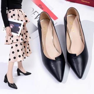 Giày nữ cao gót phong cách công sở ( xếp mũi) màu đen A21