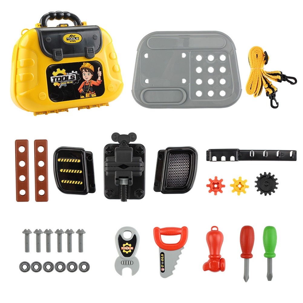 29pcs For Toddlers Pretend Play Anti Stress Entertainment Construction Toys With Belt Garden Hobbies Box Kids Tool Set