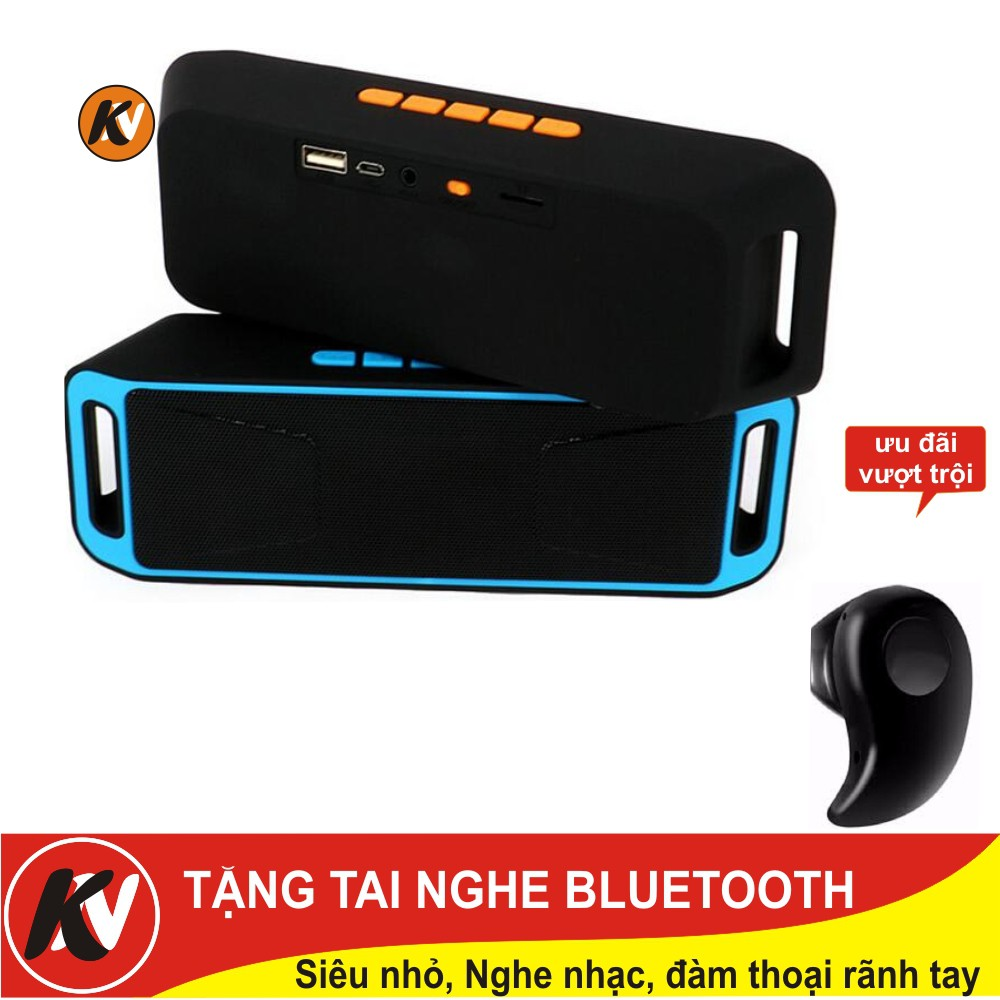 Combo Loa Bluetooth Megabase SC208/A2DP Stereo + Tai nghe Bluetooth siêu nhỏ