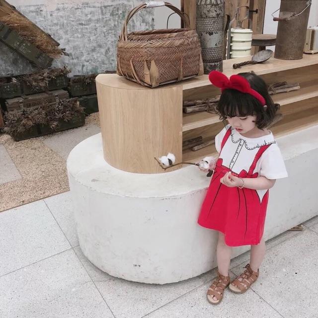 Đầm coton giả yếm cực xinh cho bé gái 1-6t