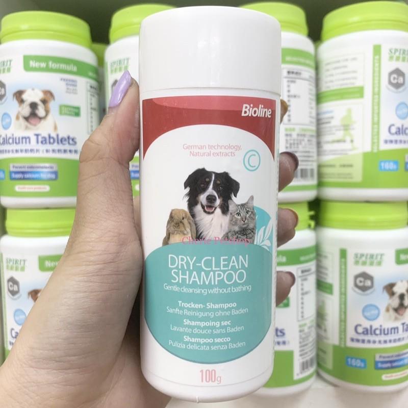 Phấn/bột tắm khô BIOLINE cho chó mèo 100g