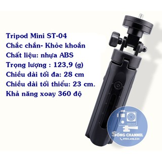 [Mã ELORDER5 giảm 10K đơn 20K] Tripod Mini cho điện thoại, máy ảnh, camera hành động ST-04