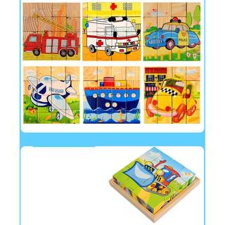 Bộ xếp hình 6 mặt bằng gỗ 4 x 4 chủ đề phương tiện giao thông