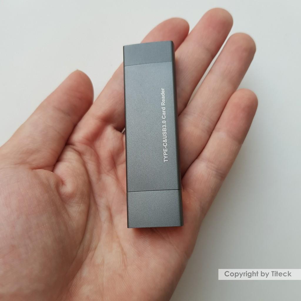 Đầu đọc thẻ nhớ SD/TF kết nối USB Type c và USB 3.0 vỏ nhôm cao cấp