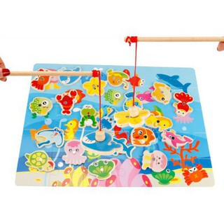 【Hot Sale】 Kittens Children's Fishing Toys Large Magnetic Wooden Puzzle Game