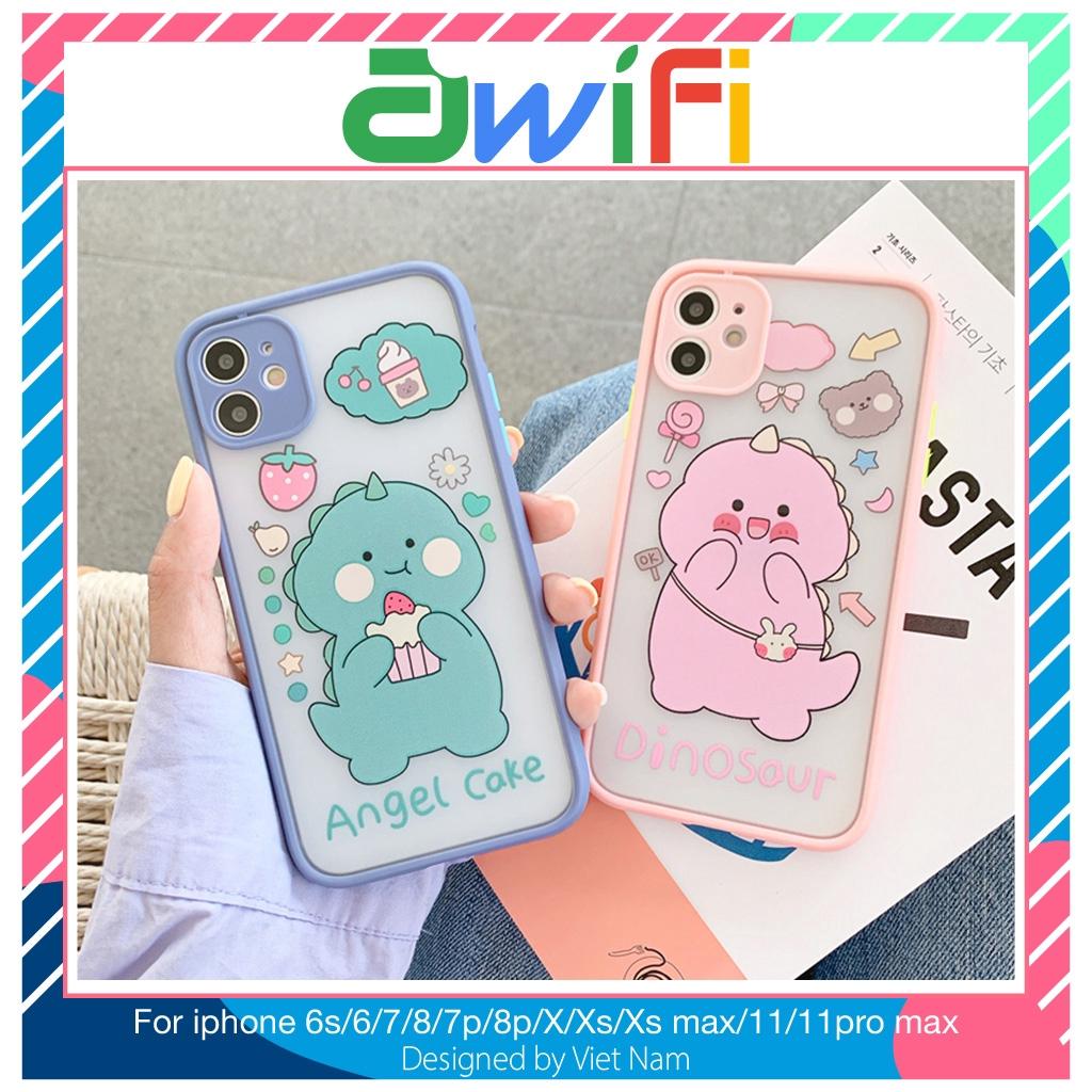 Ốp iphone - Ốp lưng viền nhám Cặp đôi khủng long 6/6plus/6splus/7/8/7plus/8plus/x/xs/xsmax/11/11promax - Awifi Case T6-9