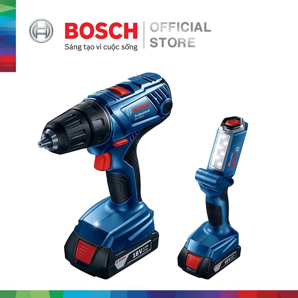 Bộ combo Máy khoan vặn vít dùng pin Bosch GSR 180-LI - Tặng đèn pin GLI 180-LI (2 pin 1.5 Ah + 1 sạc