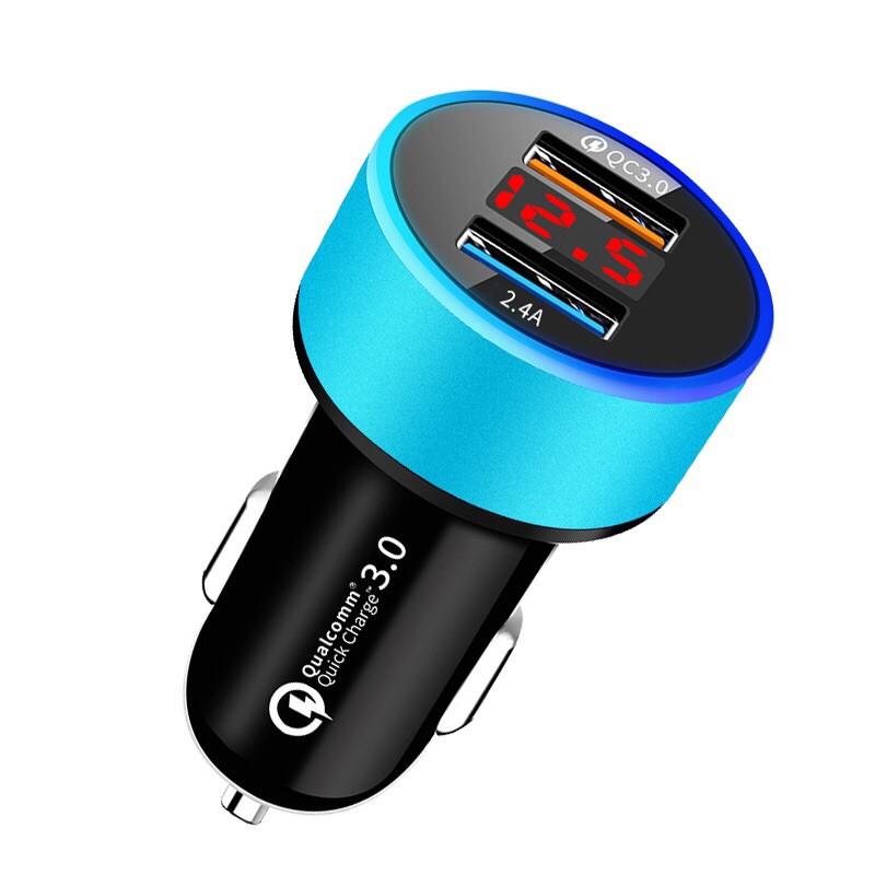 Tẩu Sạc Xe Hơi 2 Cổng USB Màn Hình LCD Hiển Thị Điện Áp Thiết Bị Điện Gia Dụng