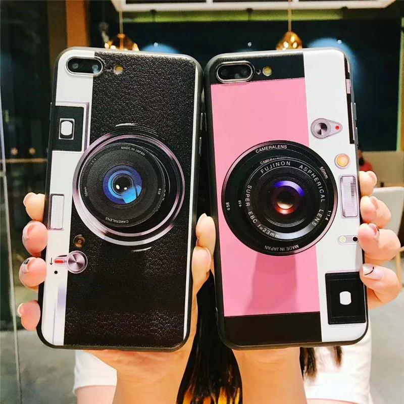 BZY3|Óp lưng in hình camera có tay cầm thời trang cho iPhone 6 6s 7 8 Plus X