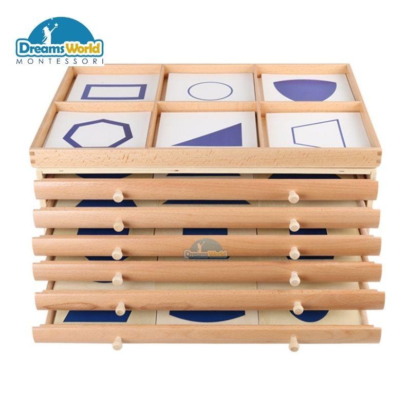 Tủ Hình Học 6 Ngăn – Geometric Cabinet with 35 insets Giáo Cụ Montessori