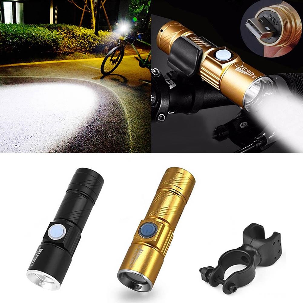Mini USB Rechargeable Super Bright Flashlight Waterproof Bike Lamp 360 U-type Bicycle Universal Clip Bracket