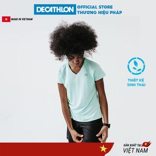 Áo thun thể thao nữ DECATHLON run dry chuyên chạy bộ nhanh khô - xanh lá cây nhạt thumbnail