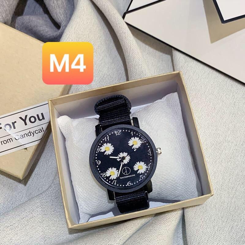 Đồng hồ nam nữ Peaceminusone đeo tay thời trang hoa cúc DH105 cực đẹp