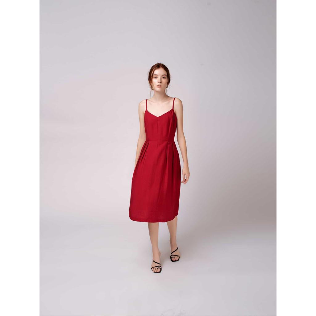 Đầm Dây Vải Tơ Xước Đỏ - YV LE & CO