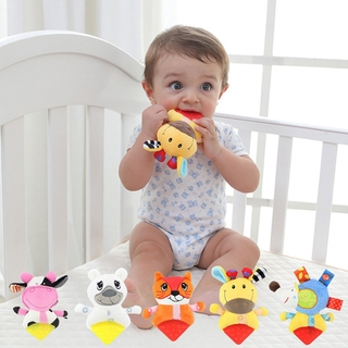 Baby Rattles Handbell Infant Teether Plush Animal Cartoon Baby Teether Toys For Children