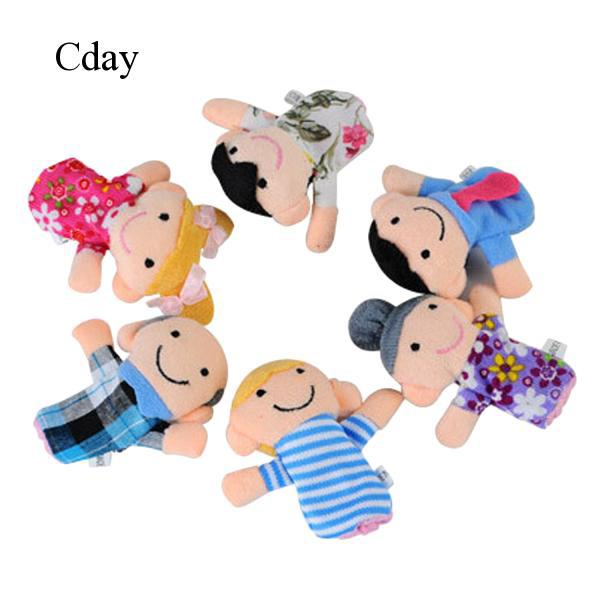 6x Finger Puppets Toy Plush Family Baby Storytelling Doll Kids Educational Toys
