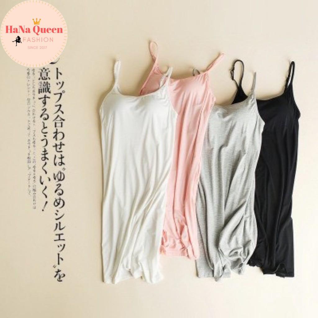 [Sẵn Hàng] Váy ngủ 2 dây có đệm ngực, váy mặc nhà, váy lót trong váy chất cotton siêu mát