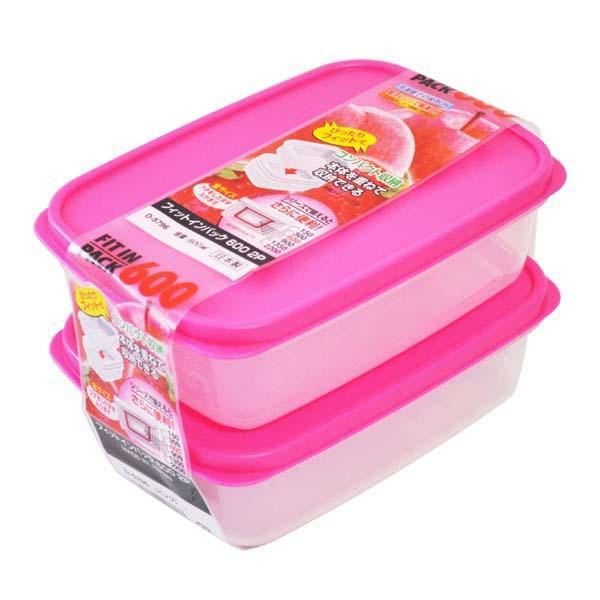 Set 2 Hộp trữ thức ăn cho Bé Sanada Seiko Japan nắp Hồng 600ml