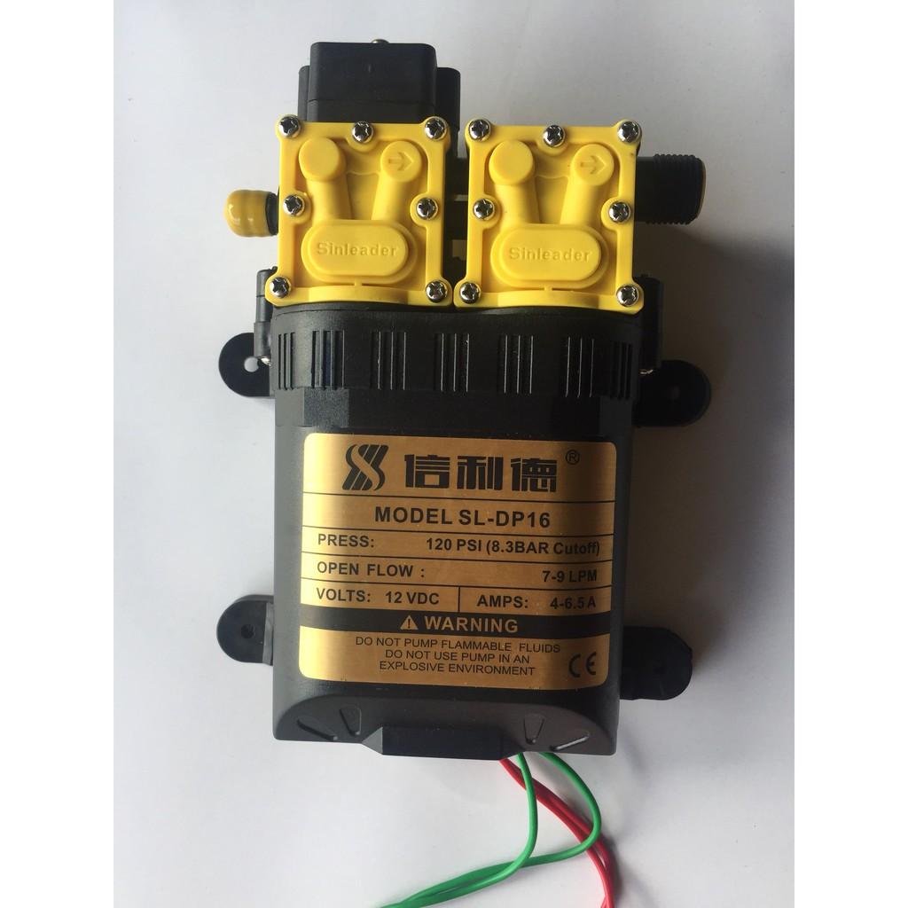 Bộ phun sương làm mát Sử dụng bơm đôi Sinleader 12V kèm nguồn 12V10A 15 đầu béc phun 25m dây PE 8mm 1m dây hút lọc rác