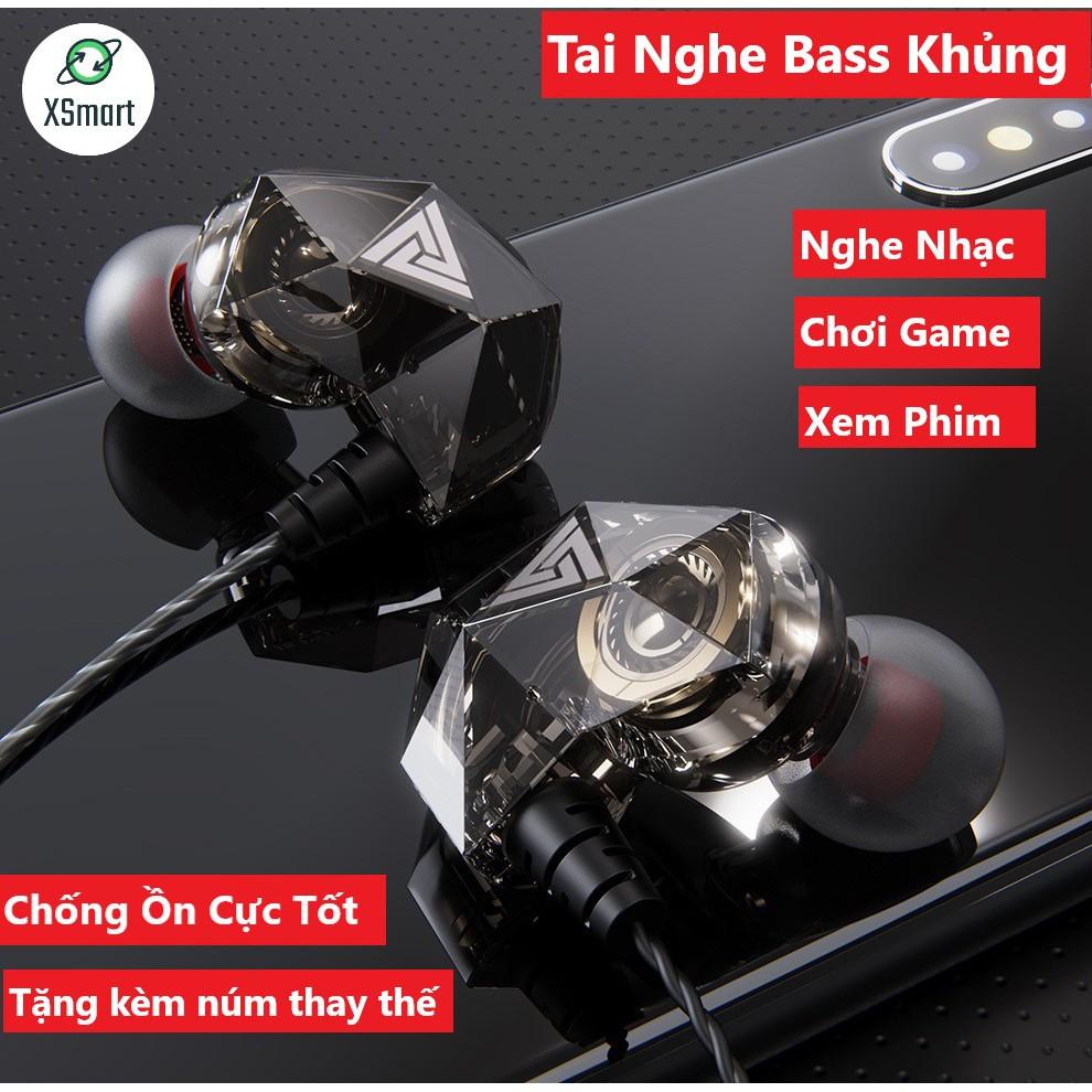 Tai Nghe Phone Nghe Nhạc Chơi Game QKZ AK2 Pro 2020 Mới Nhất Âm Thanh Super Bass, Dây Chống Rối, Có Mic Đàm Thoại