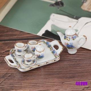 [DOU]8Pcs 1:12 Dollhouse Miniature Dining Ware Porcelain Tea Set Dish Cup Plate