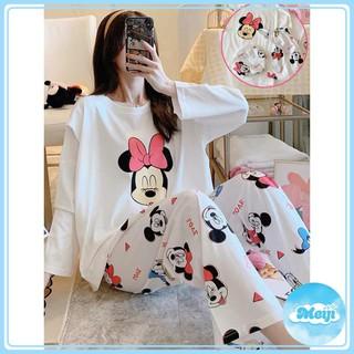 Quần áo ngủ, Bộ ngủ pijama chuột Mickey trắng dài tay kèm túi