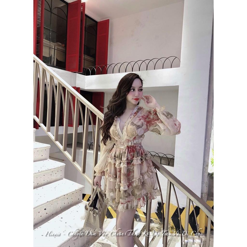 Đầm Hoa Voan Khoét Eo CỰC SEXY Tay Dài Cho Nàng Đi Chơi, Đi Biển So Deep- KÈM HÌNH THẬT