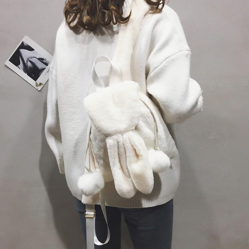 Plush backpack female 2018 autumn and winter new cute cartoo
