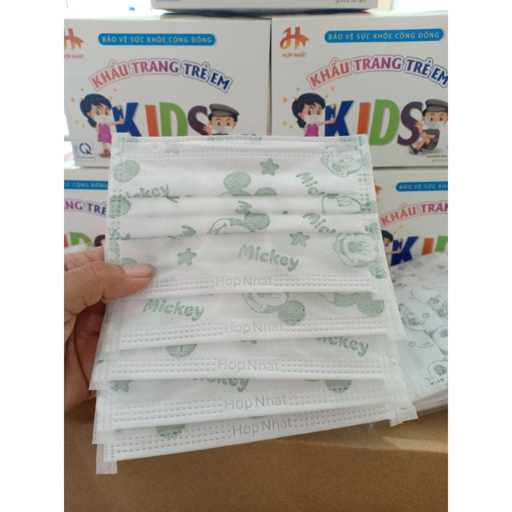 Hộp 50 chiếc khẩu trang y tế nhãn hiệu HỢP NHẤT, sản phẩm có giấy kiểm định chất lượng.