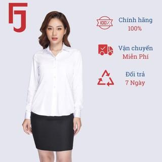 Áo sơ mi nữ công sở dài tay Thái Hòa, màu trắng vải cotton trơn 047-01-01 thumbnail