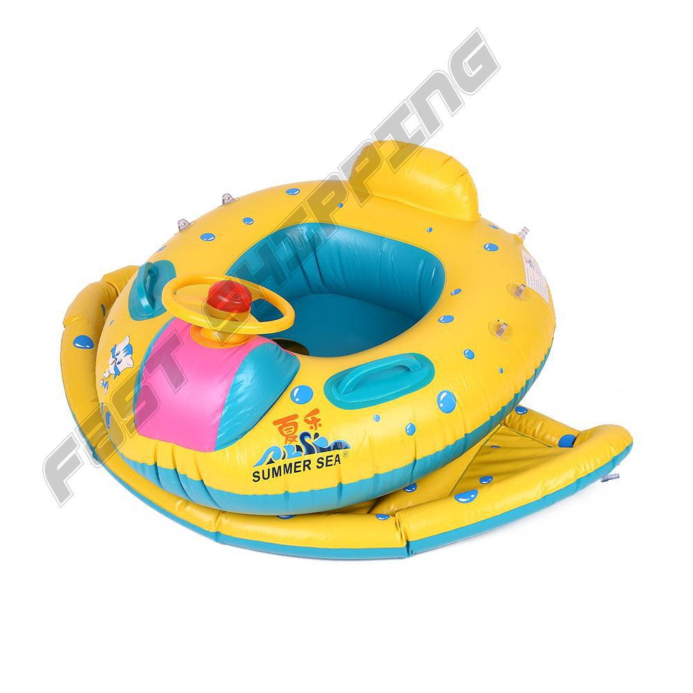 Durable PVC Baby Inflatable Swimming Floating Boat Sunshade With Horn Toddler