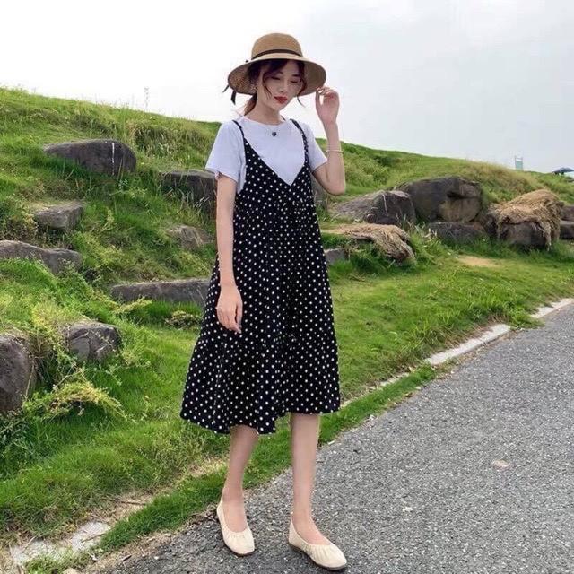 Set Váy Bầu Chấm Bi Dáng Xuông