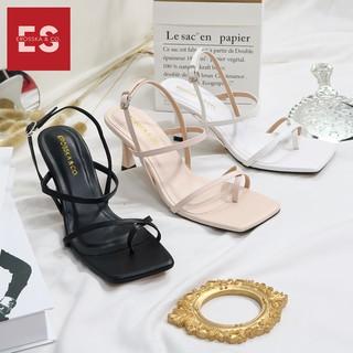Hình ảnh [Mã FASHIONMALLT4 giảm tới 30K đơn 150K] Giày cao gót Erosska phối dây xỏ ngón cao 7cm màu trắng _ BM004-5