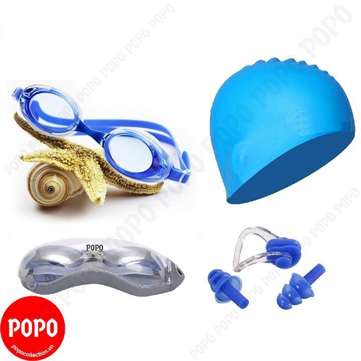 Kính bơi hiện đại 1153, mũ bơi trơn, bịt tai kẹp mũi POPO Collection mắt kính trong chống tia UV chố