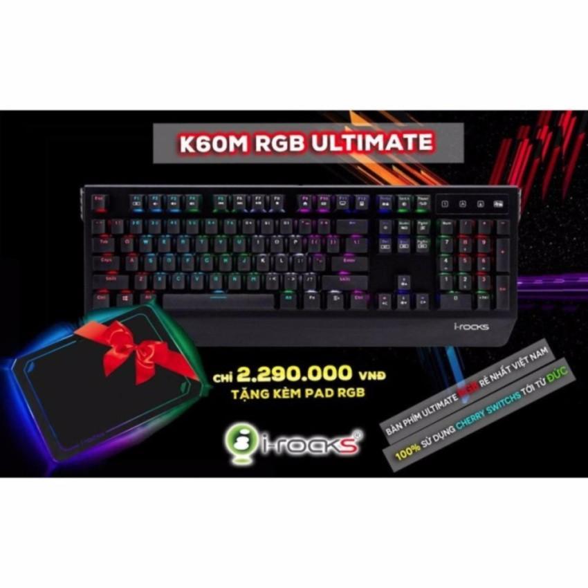Bàn phím cơ i-Rocks K60M Cherry Blue Switch RGB LED (IRK60M)+ Tặng bàn di chuột chuyên game i-Rocks IRC13E RGB LED (Đen)