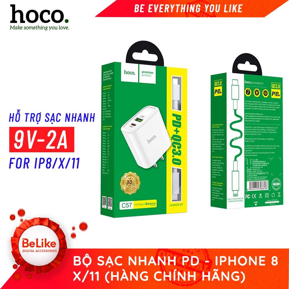 Bộ sạc nhanh Hoco C57 / Hỗ trợ sạc nhanh PD cho Iphone 8/X/11/ Hàng Chính Hãng
