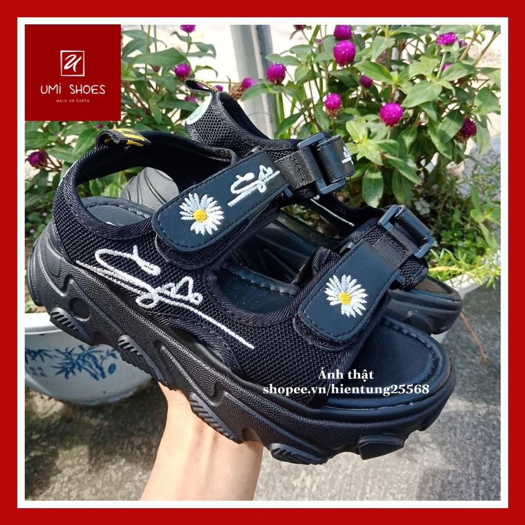 Sandal hoa cúc 2 quai ngang ulzzang độn đế cao 5cm mới cá tính năng động màu đen/trắng đẹp