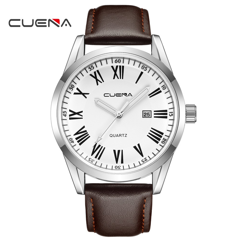 (CHUẨN MEN) Đồng hồ nam CUENA doanh nhân đẳng cấp CE817 viền thép lịch lãm dây da cao cấp