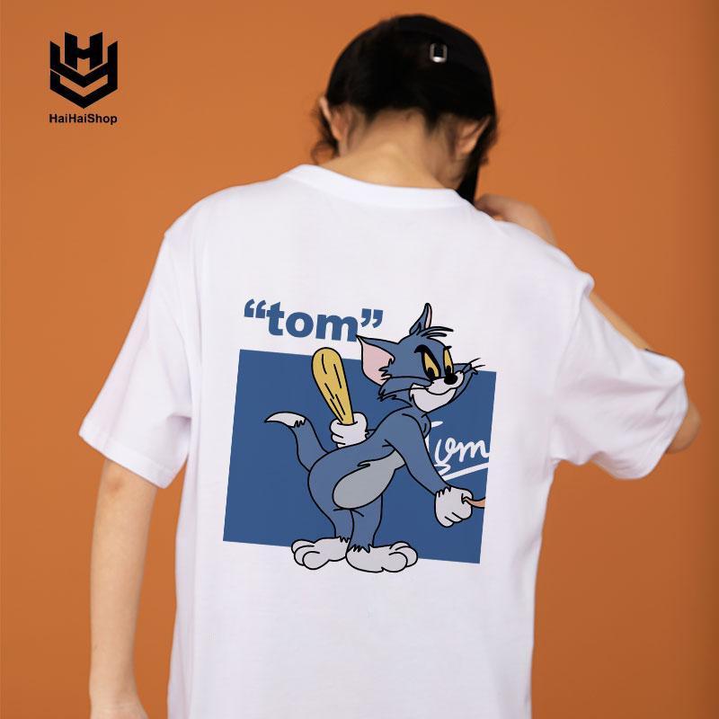 Áo Thun Tay Ngắn Tom & Jerry In KTS Form Rộng Unisex Nam Nữ, Cotton 75%, Co Giãn, Loại Tốt,HaiHaiShop