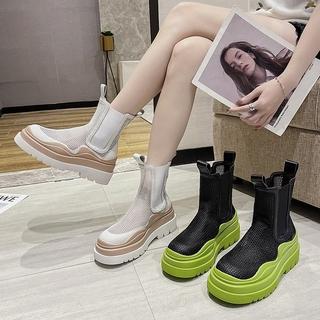 Giày Bốt Martin Da Thật Phối Lưới Thời Trang Cá Tính 2021
